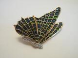 Kenneth Jay Lane Designer Cloisonné Enamel Pave Crystal Dimensional Butterfly Brooch
