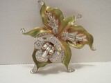Norman Miller Glamour Collection Enamel Rhinestone Orchid Flower Brooch