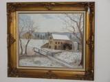 American Folk Art Grist Mill Winter Landscape Scene Original Oil on Canvas