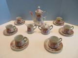 17 Piece - Replica R.S. Porcelain Demitasse Tea Set Pink Rose Spray Gilded Trim Design