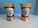 Pair - Countess Collection Old English Artistry Leander 1946 Vases Porcelain