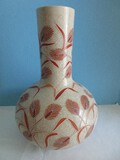 Heygill Imports Japan Pottery Bulbous Vase Hand Painted Wheat Pattern Craquelure Finish