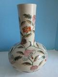 Heygill Imports Japan Pottery Vase Hand Painted Stem Flowers & Foliage Pattern