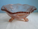 Stag & Holly Pattern Pink Pressed Glass 3 Toed Center Bowl