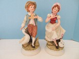 Pair - Endearing Lefton China Hand Painted Victorian Gentleman w/ Dove & Lady