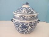 Unique Semi-Porcelain Chinese Rice Bowl w/ Lid Blue & White Flowering Vine Pattern