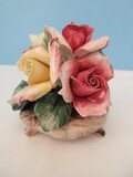 Porcelain Capodimonte Bouquet of Roses in Footed Bowl
