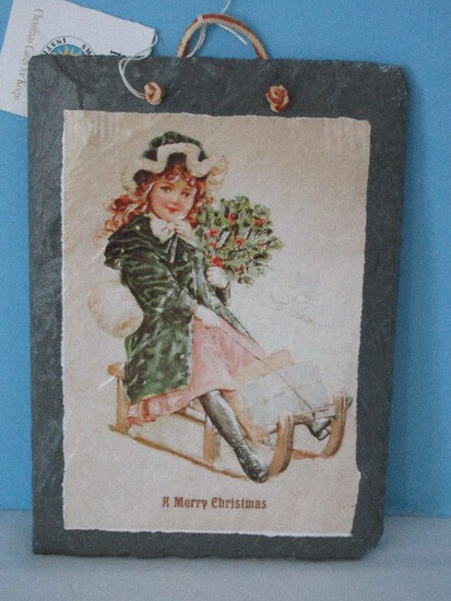 """Plain Jane Unique Hand Crafted Slate """"A Merry Christmas"""" Cards For Keeps Plaque"""