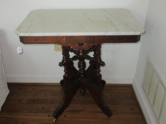 Opulent Walnut East Lake Marble Top Parlor Center Table Ornately Carved