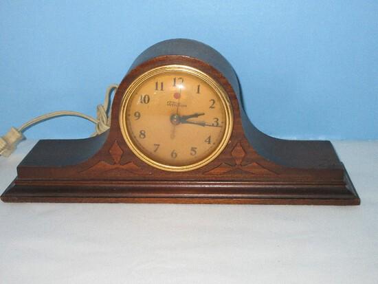 Vintage Telechron Electric Mantle Clock Model 336 in Mahogany Case