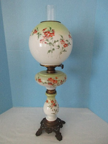 Rare IMPD Climax Antique Victorian Era Oil Parlor Lamp Hand Painted Stemmed Flowers