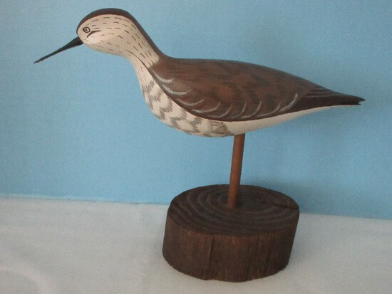 Carved Wooden Bird Figure Hand Painted Artist Signed Pat Hil 1982 on Base