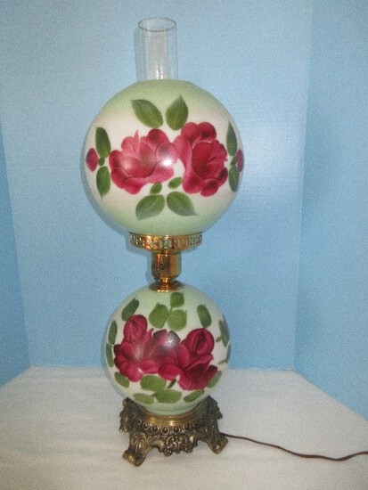 Exquisite Gone w/ The Wind Style Lamp Hand Painted Red Rosebuds & Foliage Design