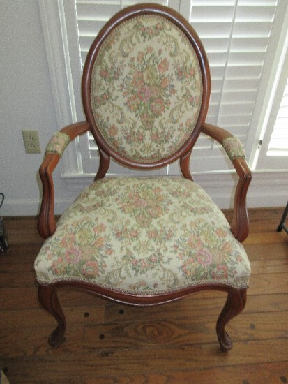 French Inspired Bergere Louis XVI Style Medallion Back Arm Chair w/ Padded Arms
