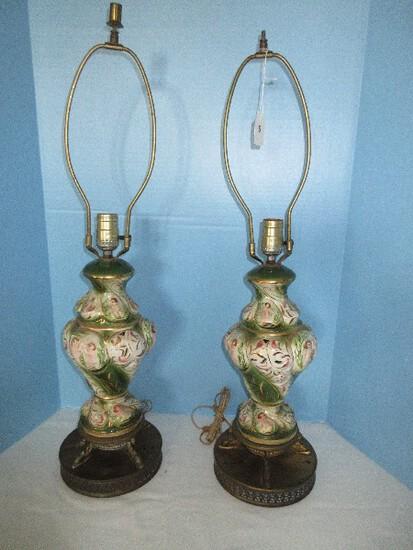 "Vintage Pair Capodimonte Porcelain Vase Form 29"" Table Lamps on Dolphin Base"