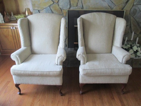 Pair - White Striped Upholstered Arm Chairs Wing Back Scroll Arms Curved Wood Legs