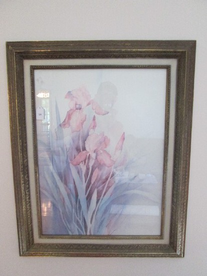 Watercolor Floral Print Pink/Blue in Ornate Gilted Frame/Matt