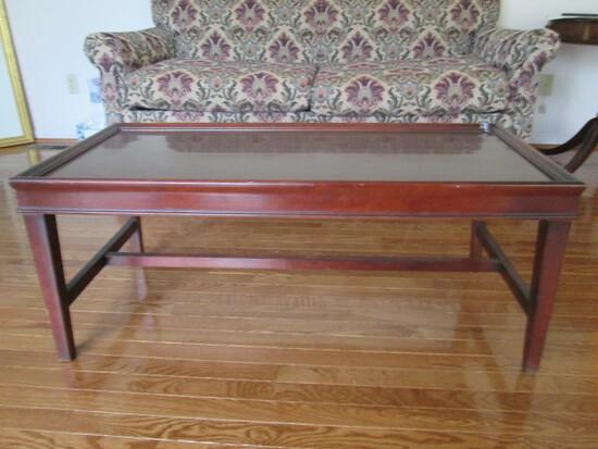 Wooden Dark Coffee Table Narrow Legs w/ Stretcher, Bracket Trim