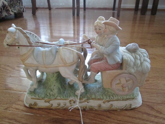 Porcelain Ceramic Boy/Girl on Horse Drawn Cart by Price Products