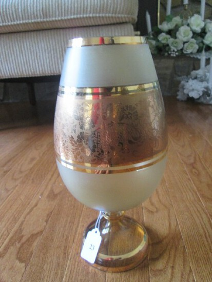 Ornate Gilted Frosted Glass w/ Ornate Floral/Pineapple Band on Pontil Base