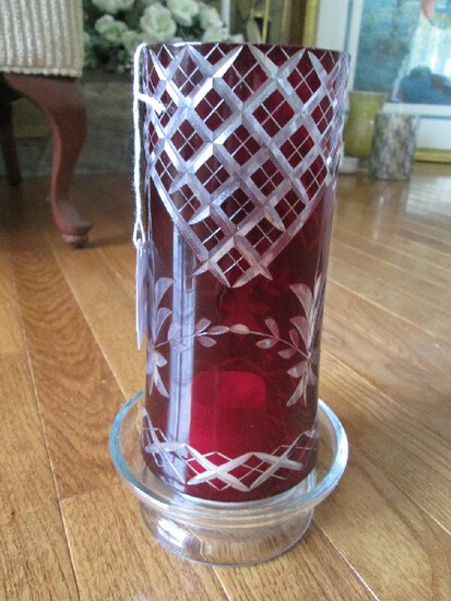 Ruby Flashed Tall Glass w/ Cross/Floral Motif Votive Candle w/ Glass Shade