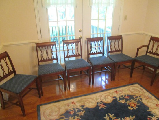 6 Wooden Dining Chairs Cross/Pierced Design Back Grooved Trim, Curled Back