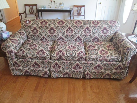 3 Seat Sofa Hideabed Ornate Floral Upholstered Design Scroll Arms Wood Block Feet