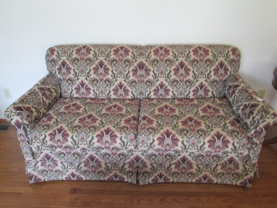 2 Seat Sofa Hideabed Ornate Floral Upholstered Design Scroll Arms Wood Block Feet
