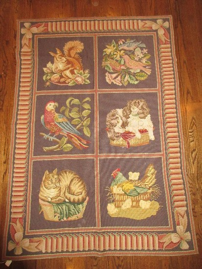 Exceptional Aubusson Style Needlepoint Flatware Weave Rug Tapestry
