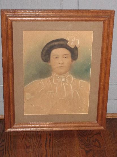 Early Portrait Photograph Hand Colored Genteel Woman in Oak Frame