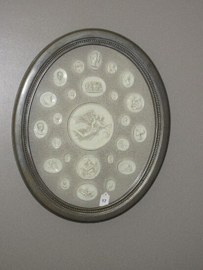 Hand Finished Oval Shadow Box Frame Antique Silver Patina Bead Trim Frame