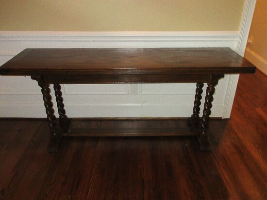 Ethan Allen Oak Barley Twist Royal Charter Collection Console Flip Tip Dining Table