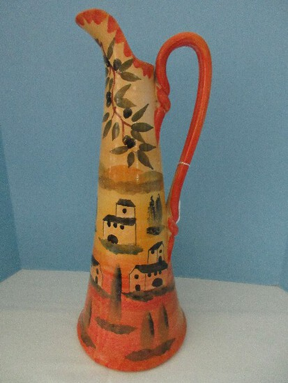 """Large Terra Cotta Clay Ewer 19"""" Pitcher Hand Painted & Made in Italy Olive Branch"""