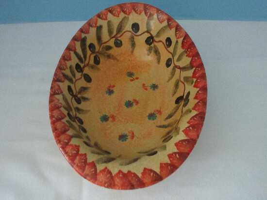 Terra Cotta Clay Nappy Oval Bowl Hand Painted Olive Foliage & Flower Pattern