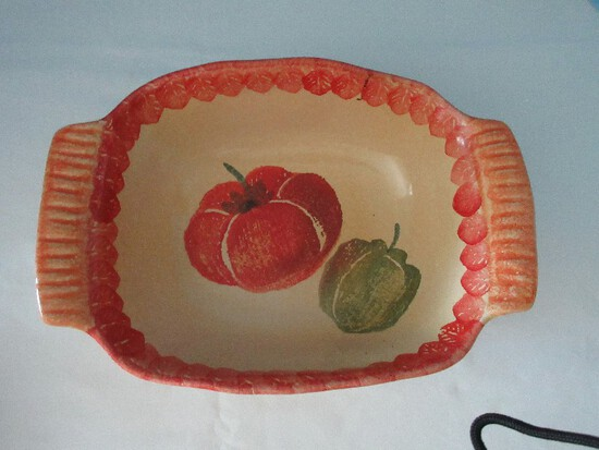 Terra Cotta Earthenware Oven Proof Baking Dish hand Painted Tomato & Pepper Leaves Trim