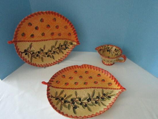 Lot - Terra Cotta Earthenware 2 Embossed Leaf Shape Serving Platters