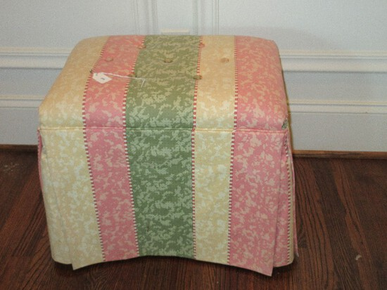 Mahogany Queen Anne Style Vanity Bench Stool on Pad Feet Tufted Upholstery