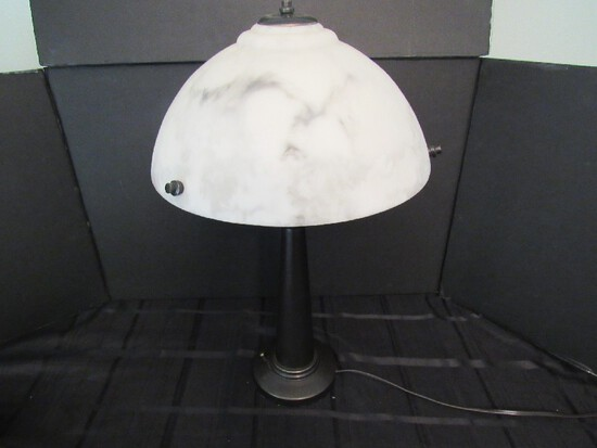 Tall Marble White Shade w/ Black Body Stand Lamp