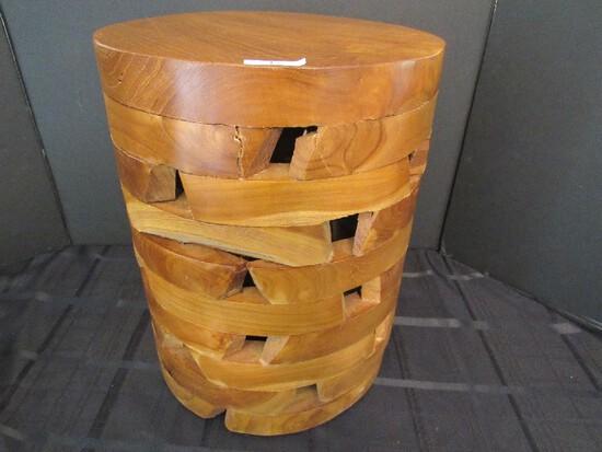 Teak Block Design/Round Top Side Table