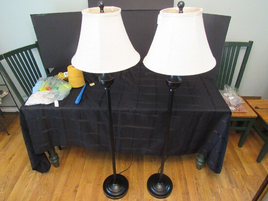 Pair - Tall Metal Thin To Urn Design Torchiere Lamps w/ Ball Top/White Shade