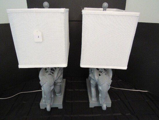 Pair - Grey Scroll/Curled Design African Elephants Lamps Square White Shade Ball Top