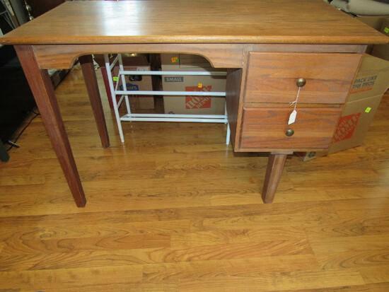 Wooden 2 Drawer Work Desk Narrow Legs, Curved Trim, Metal Pulls