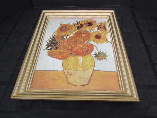 Sunflowers Picture Print in Gilted Wooden Frame/Matt
