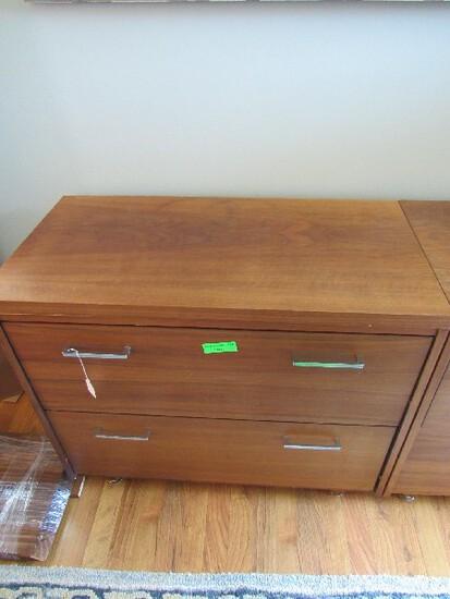 Wood Veneer 2 Drawers w/ Metal Pulls, Block Wood Veneer Legs