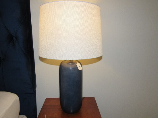 Pair - Tall Blue Ribbed Design Lamps w/ White Shade