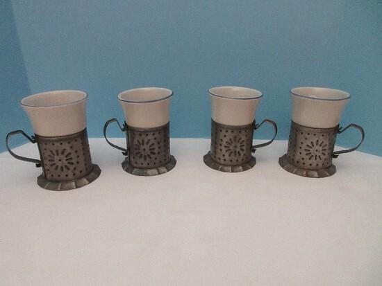 Set - 4 Pfaltzgraff Stoneware Yorktowne Pattern Tin Punch Mug Holders w/ Inserts