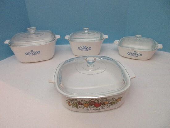 6 Pieces - Corningware Blue Cornflower Pattern Baking Dishes w/ Clear Glass Lids