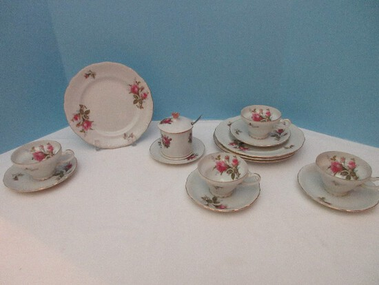 """12 Pieces - Bondware China Moss Rose Pattern 4 Footed Cups, 4 Saucers, 4 Dessert Plates 8 1/4"""""""