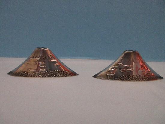 Unique Pair - Sterling Silver 950 Figural Mount Fuji Salt & Pepper Shakers