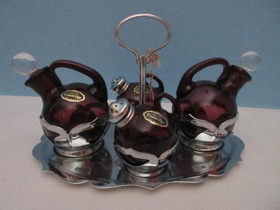 Amazing Farber Brothers Krome Kraft Art Deco Style Cambridge Glass Amethyst Condiment Set